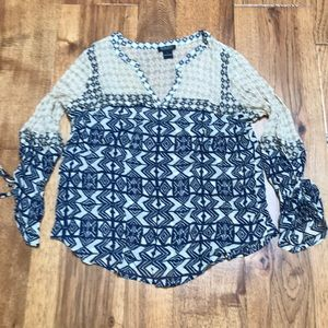 EUC Lucky Brand Sheer Printed Blouse L
